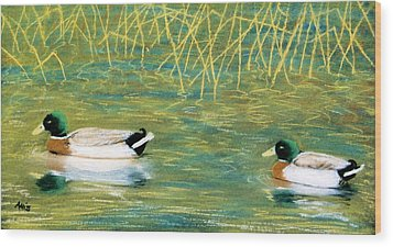 Wood Print featuring the pastel Near The Reeds by Jan Amiss