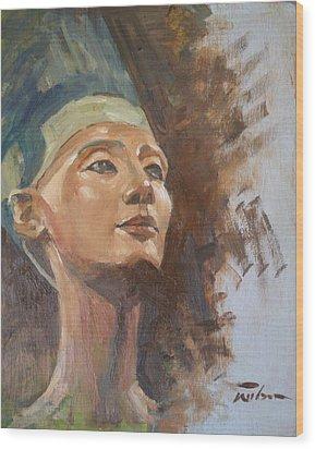 Nefertiti Wood Print by Ron Wilson