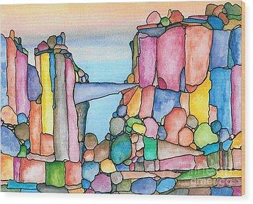 Neon Rockies Version 2 Wood Print by Janet Hinshaw