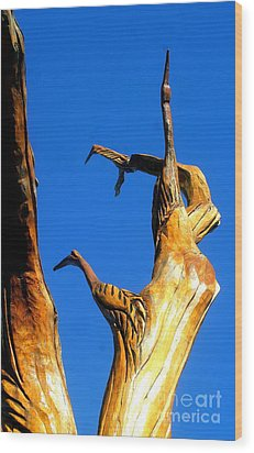 New Orleans Bird Tree Sculpture In Louisiana Wood Print