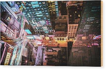 New York City - Night Wood Print