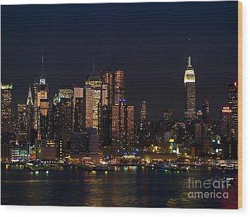 New York Skyline View Wood Print by Andrew Kazmierski