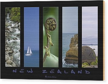 New Zealand Wood Print by Andrea Cadwallader