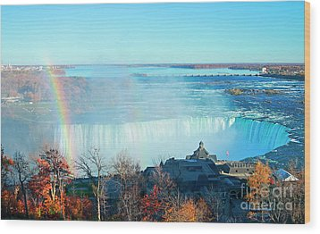Wood Print featuring the photograph Niagara Falls Rainbow by Charline Xia