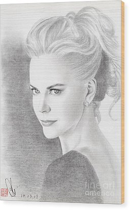Wood Print featuring the drawing Nicole Kidman by Eliza Lo