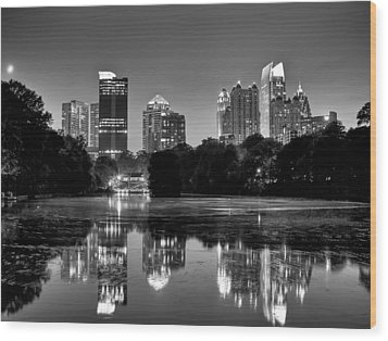 Night Atlanta.piedmont Park Lake. Wood Print