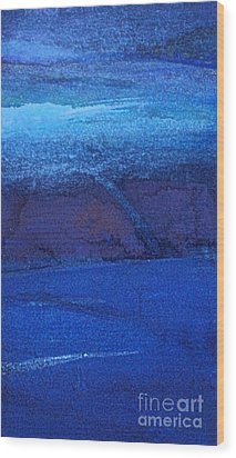 Wood Print featuring the painting Night Surf by Diane Ursin