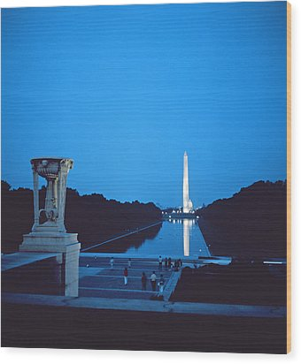 Night View Of The Washington Monument Across The National Mall Wood Print by American School