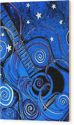 Night's Melody A.k.a. Blue Guitar Wood Print