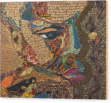 Nina Simone Fragmented- Mississippi Goddamn Wood Print by Apanaki Temitayo M