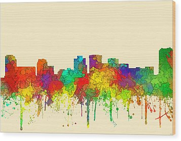 Norfolk Virginia Skyline Wood Print by Marlene Watson