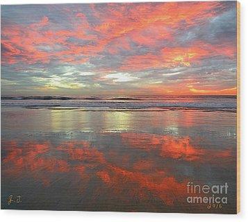 Sea And Sky Mirror Wood Print