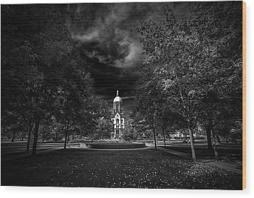 Wood Print featuring the photograph Notre Dame University Black White by David Haskett