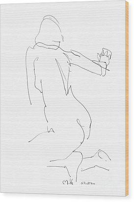 Nude Female Drawings 8 Wood Print by Gordon Punt