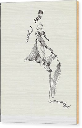 Wood Print featuring the drawing Nude Four by R  Allen Swezey