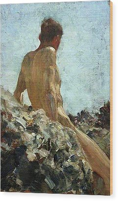 Wood Print featuring the painting Nude Study by Henry Scott Tuke