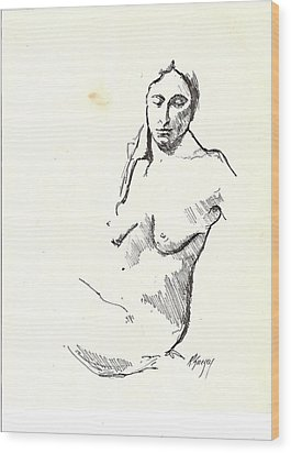 Nude Three Wood Print by R  Allen Swezey