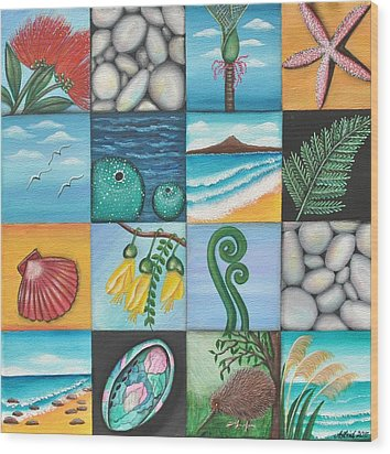 Nz Treasures Wood Print by Astrid Rosemergy