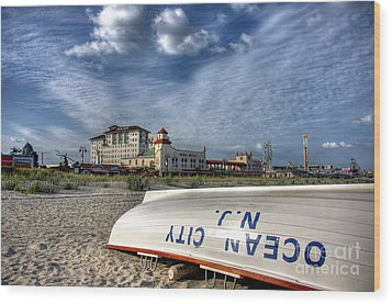 Ocean City Lifeboat Wood Print by John Loreaux
