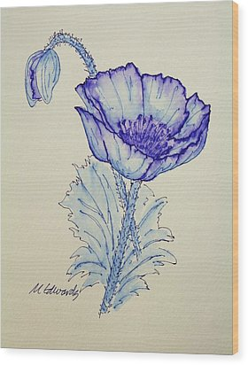 Oh Poppy Wood Print by Marna Edwards Flavell