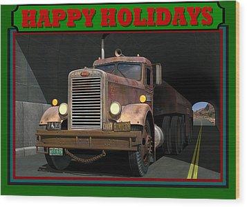 Wood Print featuring the digital art Ol' Pete Happy Holidays by Stuart Swartz