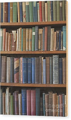 Old Books On A Bookshelf Wood Print by Paul Edmondson