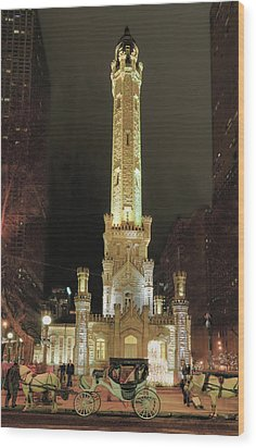Old Chicago Water Tower Wood Print
