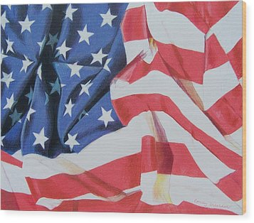 Wood Print featuring the mixed media Old Glory by Constance Drescher