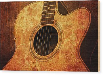 Old Guitar Wood Print by Nattapon Wongwean