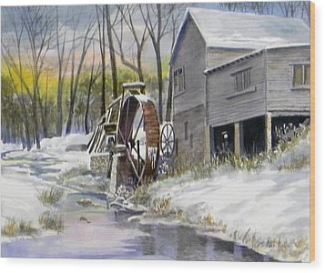 Old Mill In Winter  Sold Wood Print