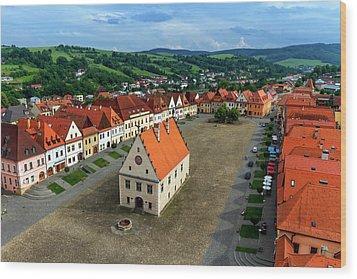 Old Town Square In Bardejov, Slovakia Wood Print by Elenarts - Elena Duvernay photo
