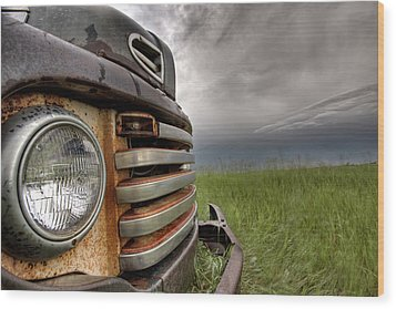 Old Vintage Truck On The Prairie Wood Print by Mark Duffy