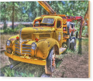 Old Yellow Dodge  Wood Print by Peter Schumacher