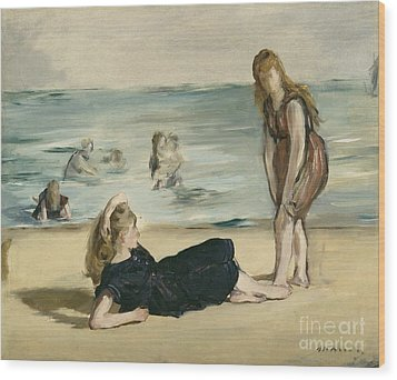 On The Beach Wood Print by Edouard Manet