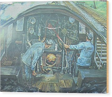 Wood Print featuring the painting On The Footplate by Mike Jeffries