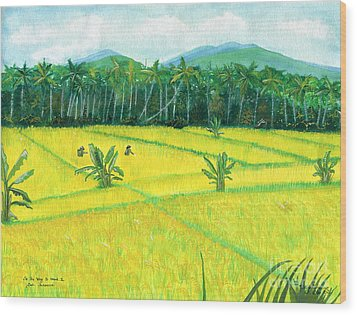 Wood Print featuring the painting On The Way To Ubud II Bali Indonesia by Melly Terpening