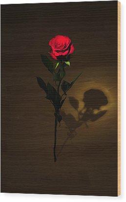 One Red Rose Wood Print by Svetlana Sewell