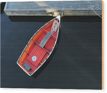 Orange Dinghy Wood Print