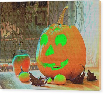 Orange Halloween Decoration Wood Print