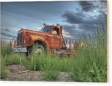 Orange Truck Wood Print
