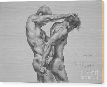 Original Drawing Sketch Charcoal Male Nude Gay Interest Man Art Pencil On Paper -0035 Wood Print
