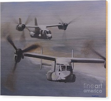 Ospreys Over The New River Inlet Wood Print
