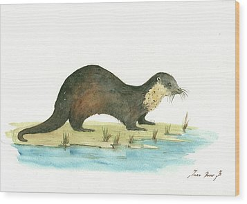 Otter Wood Print by Juan Bosco
