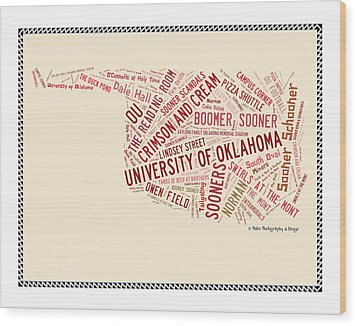 Ou Word Art University Of Oklahoma Wood Print