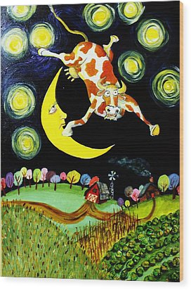 Over The Moon Wood Print by Tex Norman