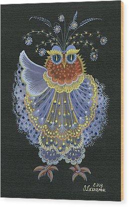 Owl Wood Print by Olena Skytsiuk