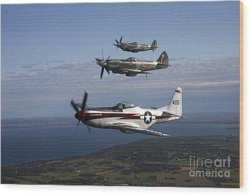 P-51 Cavalier Mustang With Supermarine Wood Print by Daniel Karlsson
