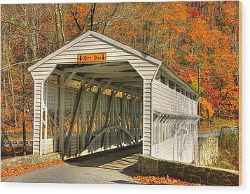 Pa Country Roads - Knox Covered Bridge Over Valley Creek No. 2a - Valley Forge Park Chester County Wood Print by Michael Mazaika