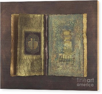 Wood Print featuring the mixed media Page Format No 1 Transitional Series  by Kerryn Madsen-Pietsch