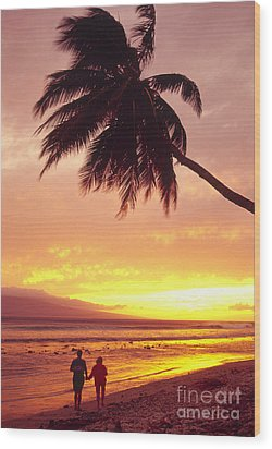 Palm Over The Beach Wood Print by Ron Dahlquist - Printscapes